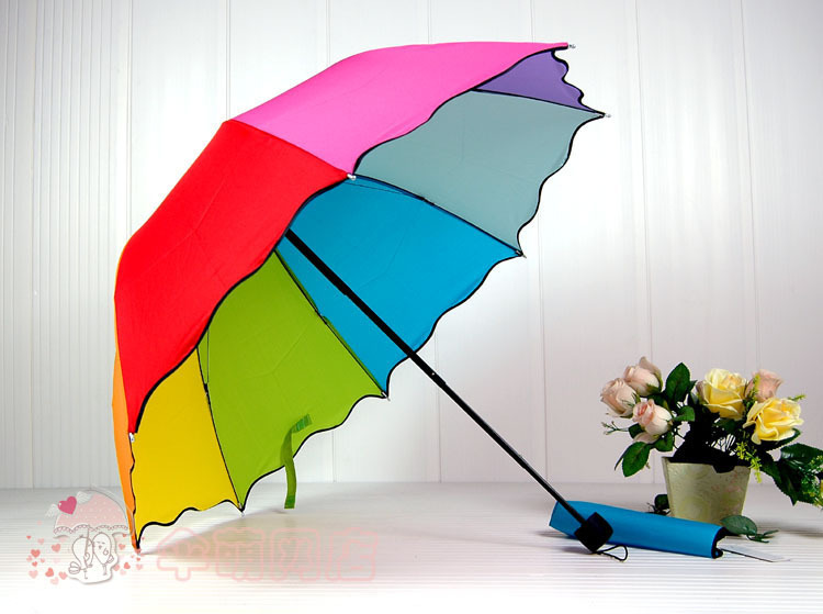 Top Quality 8 Color Rainbow Fashion  Sun/Rain Three Folding  rain Umbrella women automatic WYS01(China (Mainland))