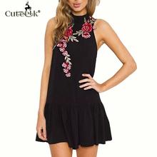 Buy 2017 Sexy Dress Sleeveless Chiffon Ruffles Women Dress Backless Line Embroidery Floral Summer Dress White Beach Dress Ukraine for $9.89 in AliExpress store