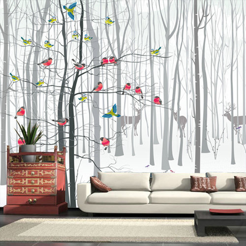 3d photo murale papier peint peintures murales pour salon moderne oiseau arbre noir blanc grande. Black Bedroom Furniture Sets. Home Design Ideas