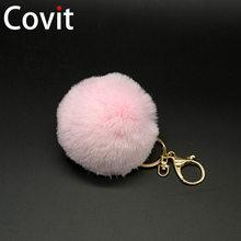 LLavero de piel de pompón mullido para mujer llavero de piel de conejo de imitación regalo(China)