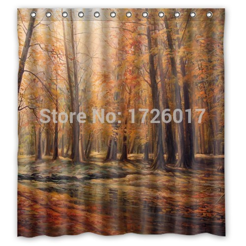 Yoosee Beautiful Maple Forest Personalized Custom Shower Curtain Bath Curtain Waterproof More