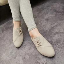 New Hot Selling Spring Casual Women Shoes Women Nubuck Leather lace-Up Flat Shoes Handsome Head Toe Shoes w016