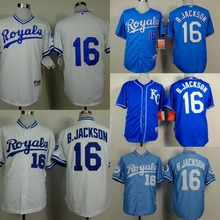 2015 Kansas City Royals Jersey 16 Bo Jackson Jersey throwback Jackson baseball jersey/ shirt with tags and stitched logos(China (Mainland))