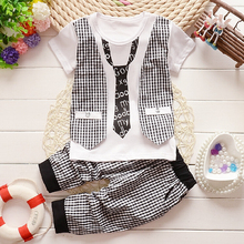 2015 Fashion Baby Boy Spring Clothes Gentleman Suit Toddler Boys Clothing Set short Sleeve T shirt