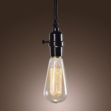 60W Loft Style Vintage Industrial Pendant Lights Lamp with Black Wire Weaved Chain and Plastic Light Holder(China (Mainland))