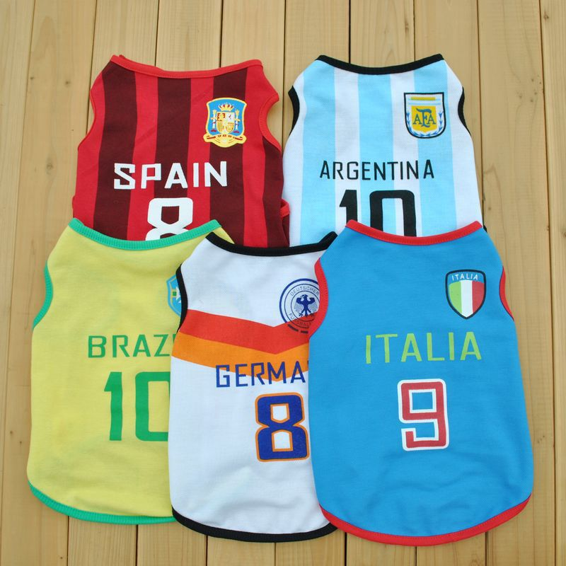 Factory direct hot models 2014 World Cup Soccer pet vest summer hand sources(China (Mainland))