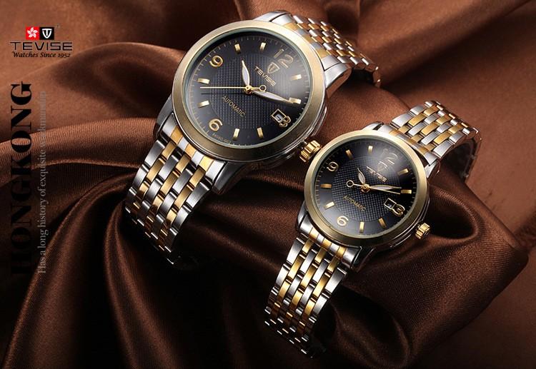 TEVISE Механические часы Любителей мужчины и женщины Ретро Полосы водонепроницаемые Часы из нержавеющей стали Автоматические механические Часы