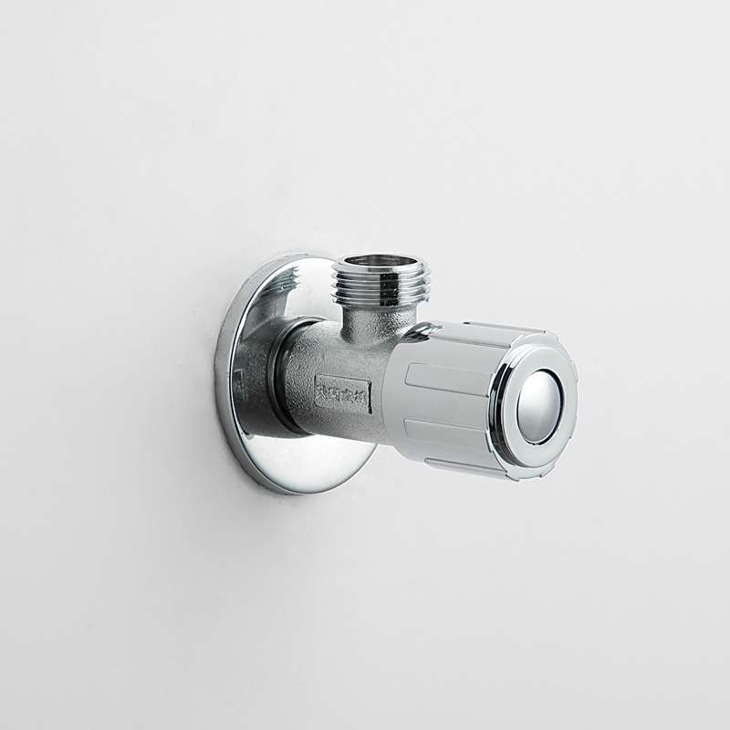 New Style Cold And Hot Water Triangle Valve Red Flush Sand Chrome Plating Water Tap 83201(China (Mainland))