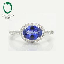 1.53ct Природный Танзанит 14 К Белое Золото Halo Бриллиантовое Обручальное Кольцо Ювелирные Изделия(China (Mainland))