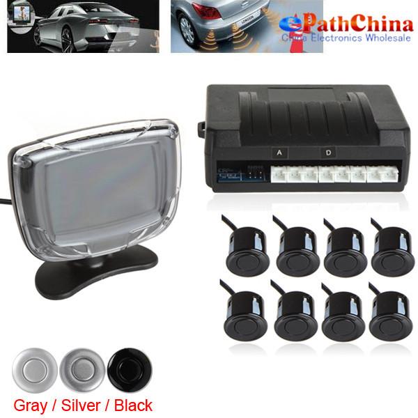 6Sets/Lot Weatherproof 8 Rear Front View Car Parking Sensors Reverse Backup Radar Kit System with LCD Display Monitor(China (Mainland))