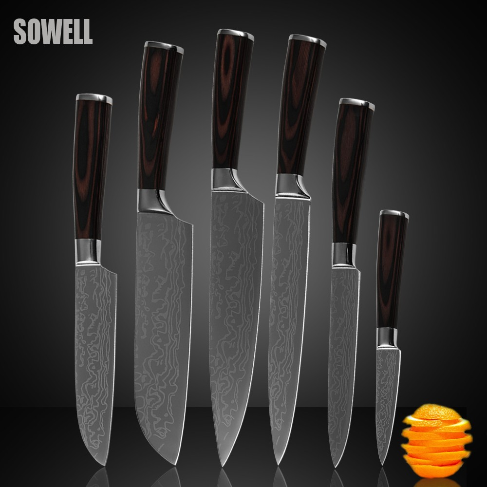 Buy Stainless steel knives set high-grade kitchen knives color wood handle beautiful gift sharp blade cooking knives six-piece set cheap