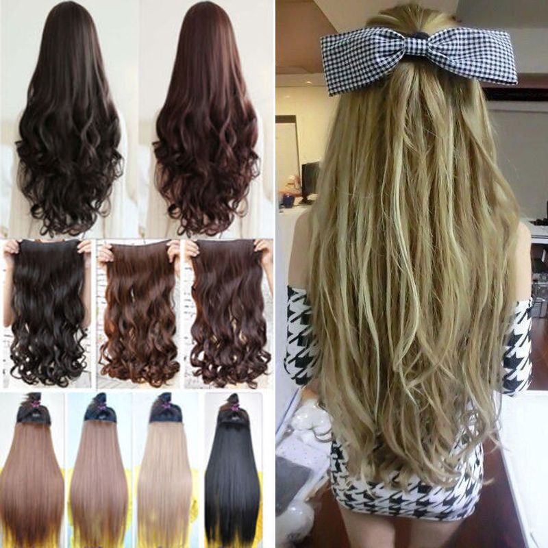 2015 New Fashion 24inch Clip in hair extensions Silky long Curly hair dark black light brown dark red Free Shipping(China (Mainland))