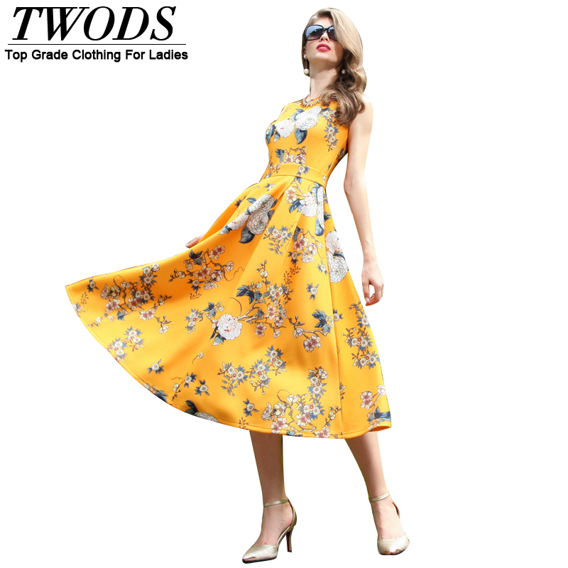 Twods Summer Style Floral Print Splendid Yellow Women Dress Sleeveless O-neck Slim Fit Vintage Mid-Calf Flare Dresses xxl DFОдежда и ак�е��уары<br><br><br>Aliexpress