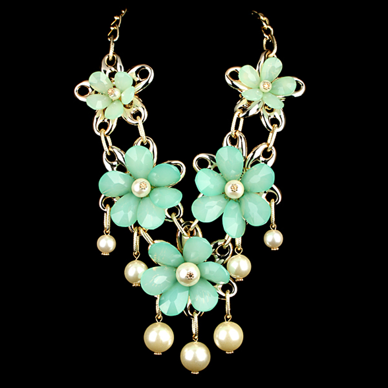 Unique Gold Plated Alloy Green Resin Flower Imitation Pearls Drop Chokers Necklace Women Fashion Jewelry - KAYMEN JEWELRY CO,.LED. store
