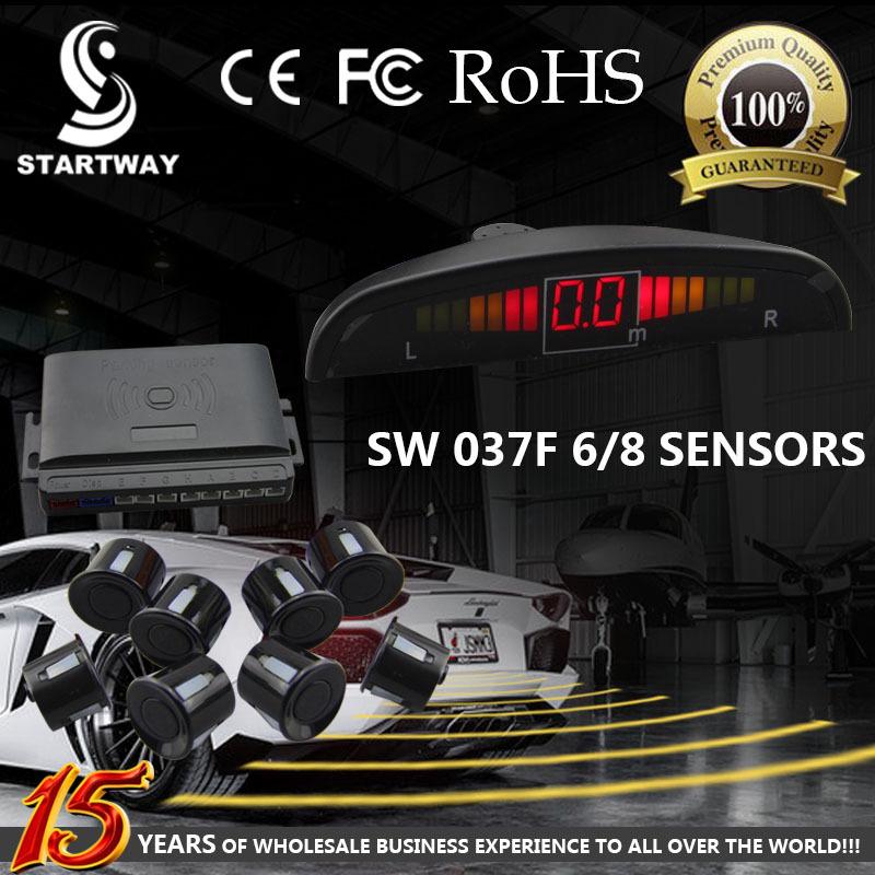 6/8 Sensors Parking Sensor 2/4 Front 4 Backup Sensor Kit Led Display Factory Super Quality With Free Shipping(China (Mainland))