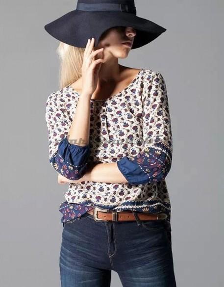 New 2015 Fashion Women Casual Blouses O-Neck 3/4 Sleeve Loose Blouse Floral Prints Cotton Shirt Top Blusas Femininas 53(China (Mainland))