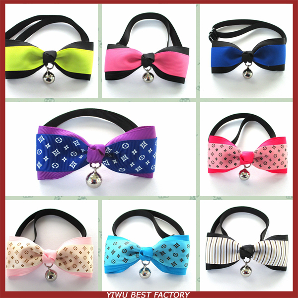 Handmade Top Quality Dog Bow Tie Collar With Bell 20pcs/lot Pet Grooming 10 Colors Sizes S for Puppy Small Dog(China (Mainland))