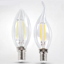 1 pce 2W 4W 220V LED Filament Bulb light bulbs chandelier ceiling lamps E14 pendant lights home lighting decoration - Hagood Technology Co., Ltd store