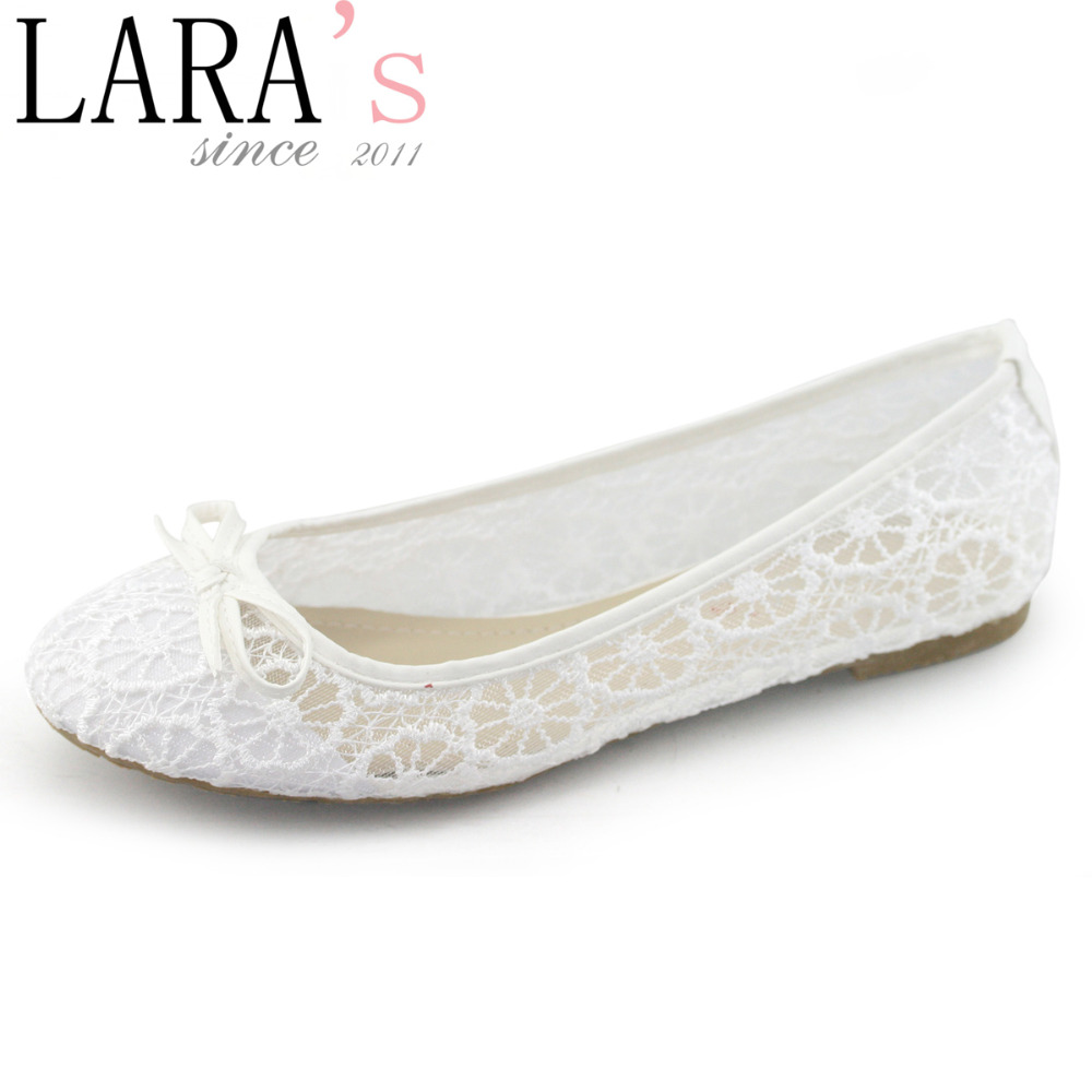 Flat Shoes - Lara Brand New Arrival Flats Shoe Women Lace White Wedding Bellet Flat Shoes Bow