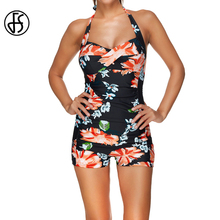 Buy 2017 Floral Print Boxer Shorts Wrap High Waist Swimwear Women Bathing Suit Brazilian Beach Wear Monokini Swimsuits S M-3XL for $14.91 in AliExpress store