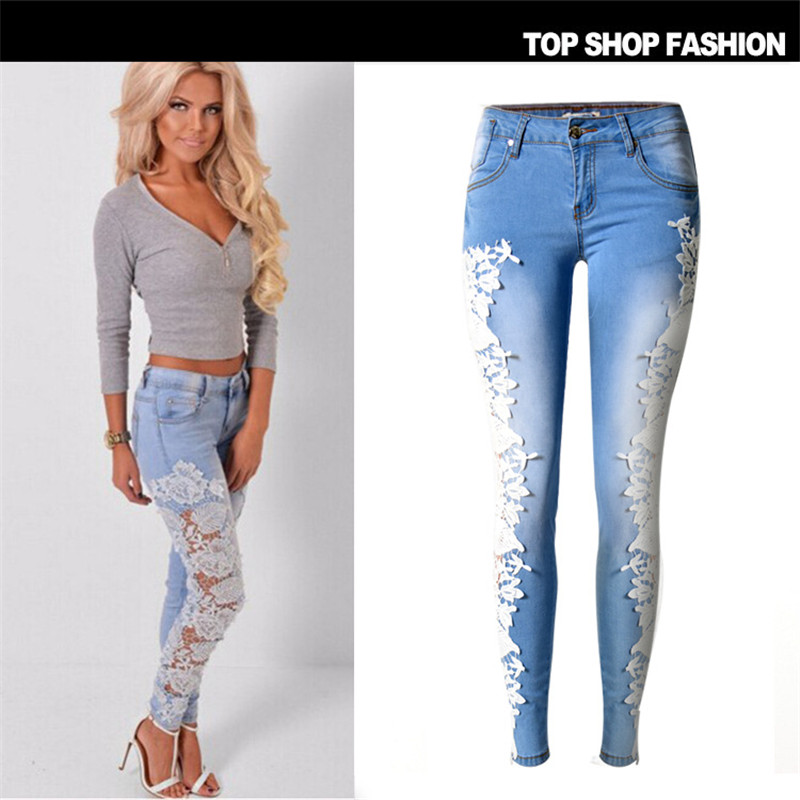 Women Lady Lace Ripped Jeans Hollow Out Denim Flower Pants Boyfriend Jeans Trousers(China (Mainland))