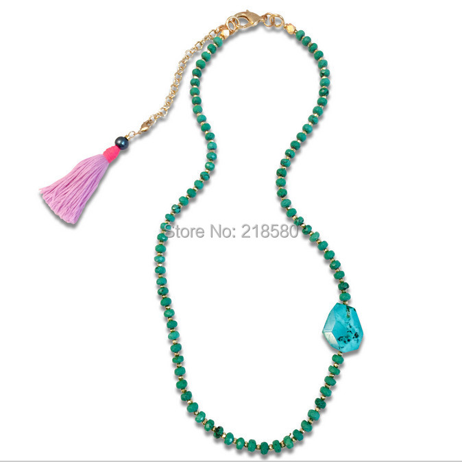 N15052008 Faceted Turquoise Rondelles and Pyrite Beads Necklace with a Clip On Pink Tassel(China (Mainland))