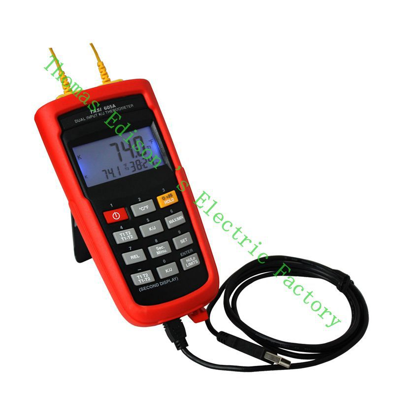 High Quality TASI-605A K-TYPE or J-TYPE Daul Channel Thermocouple Thermometer Contact by Thermocouple wires contact thermometer<br><br>Aliexpress