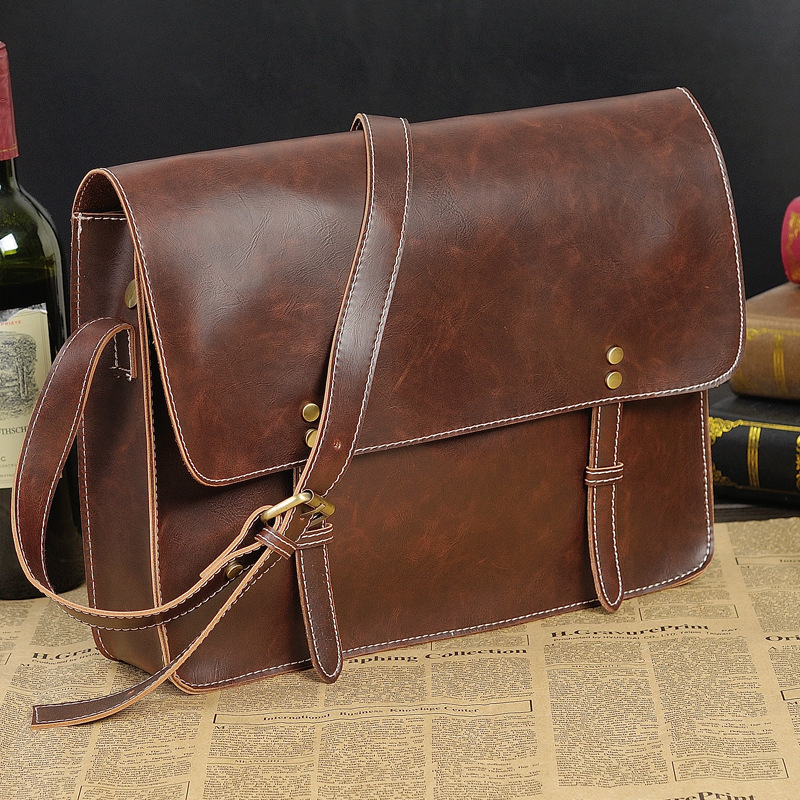 designer shoulder bags for men yjea  2015 Retro vintage messenger bag men leather designer shoulder bags for  men tas bahu untuk pria