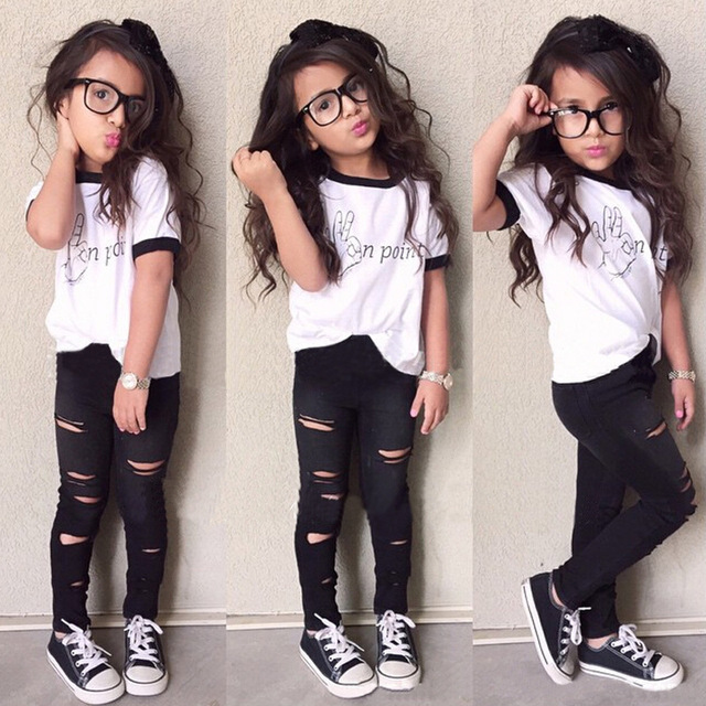 2016 девушки детей одежда лето алфавит печать белой с короткими рукавами черные брюки девушки из двух частей костюмы одежда для девочек