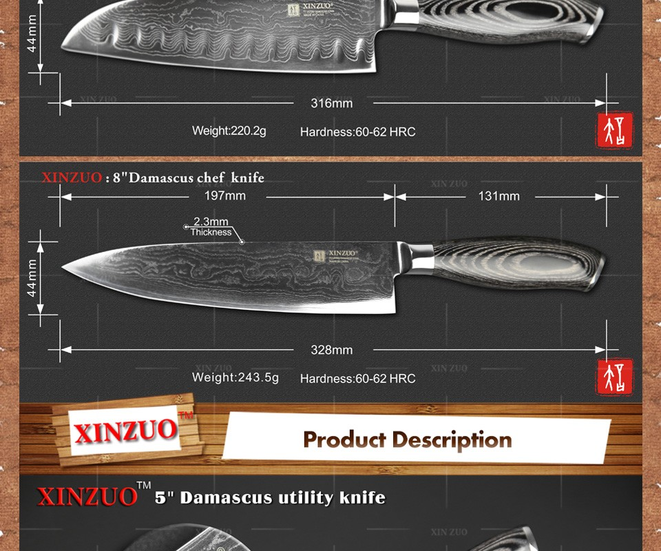 Buy XINZUO 3 pcs kitchen knife set high quality Damascus kitchen knife Japanese chef utility knife color wood handle free shipping cheap