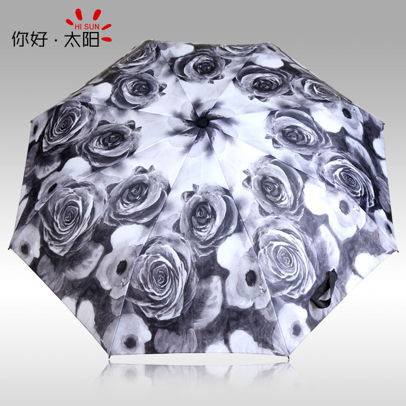 new plain coloured roses fiber ultralight creative personality plum blossom Oil Painting Romantic Folding uv Sun Rain Umbrella(China (Mainland))