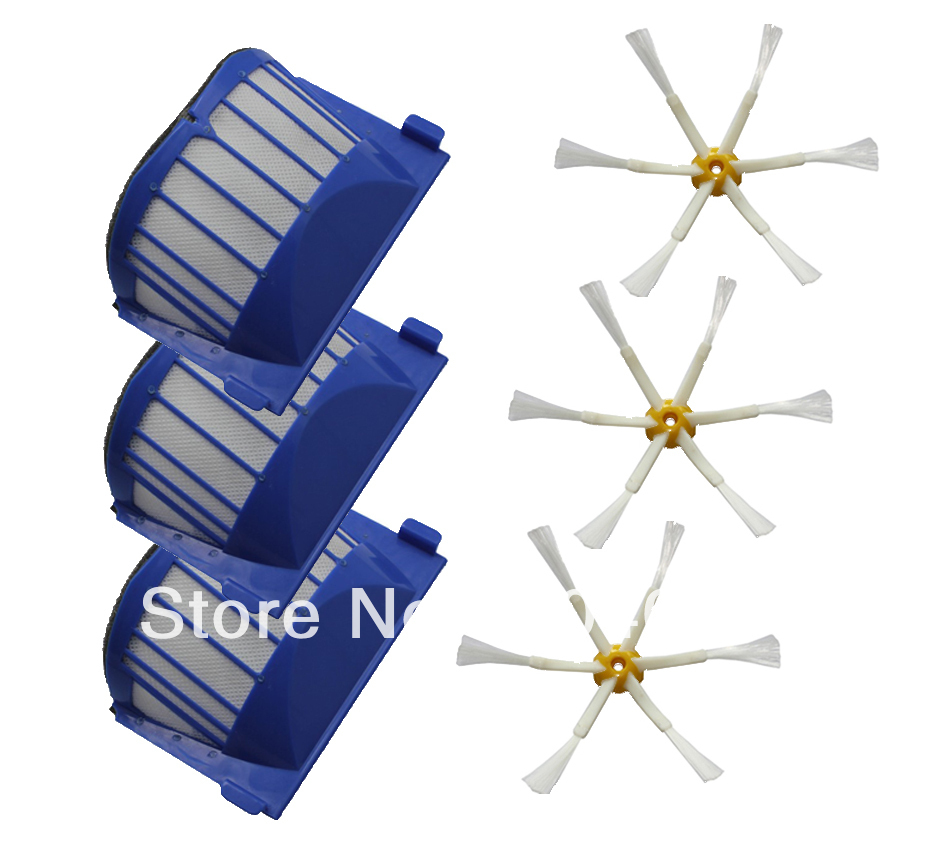 Free Shipping 3 Aero Vac Filter + 3 Side Brush 6 Armed for iRobot Roomba 500 Series 536 550 Vacuum Cleaner Accessories Part(China (Mainland))