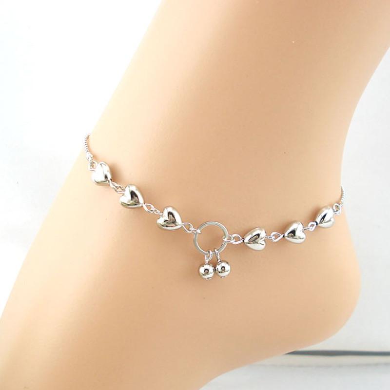 NEW Love Heart Bead Anklet Bracelet Chain Gold Ankie Foot Beach Barefoot Sandal