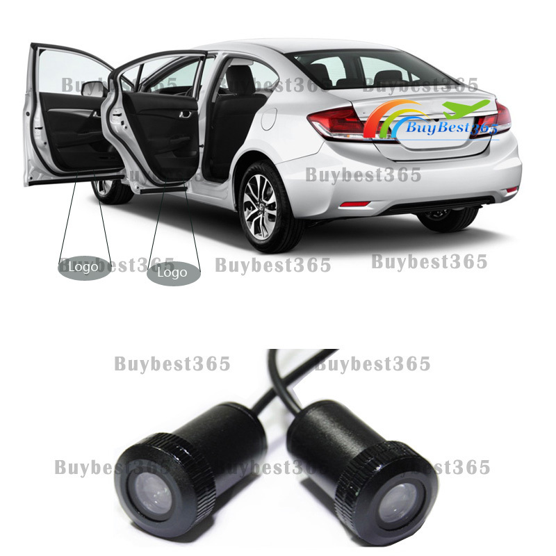 2x car LED door step courtesy lamp laser projector Shadow Logo lights for All Honda Accord Civic Crosstour CRV CRZ Fit Odyssey(China (Mainland))