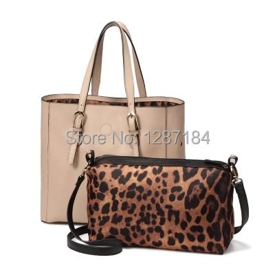 2015 New Women Messenger Bags Fashion Genuine Leather Lash Bag Crossbody Bolsas Women Leather Handbag Tote 2 Piece One Set(China (Mainland))