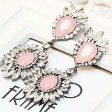 Women's fashion earrings New arrival brand sweet metal with gems earring for women girls E264~5(China (Mainland))