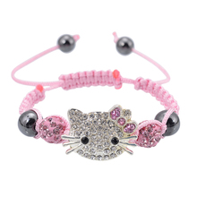 Handmade Cute Children Cat Hello Kitty Bracelet for Kids Girls Boys Shamballa Beads Connected Braid Charm bracelet Jewelry(China (Mainland))