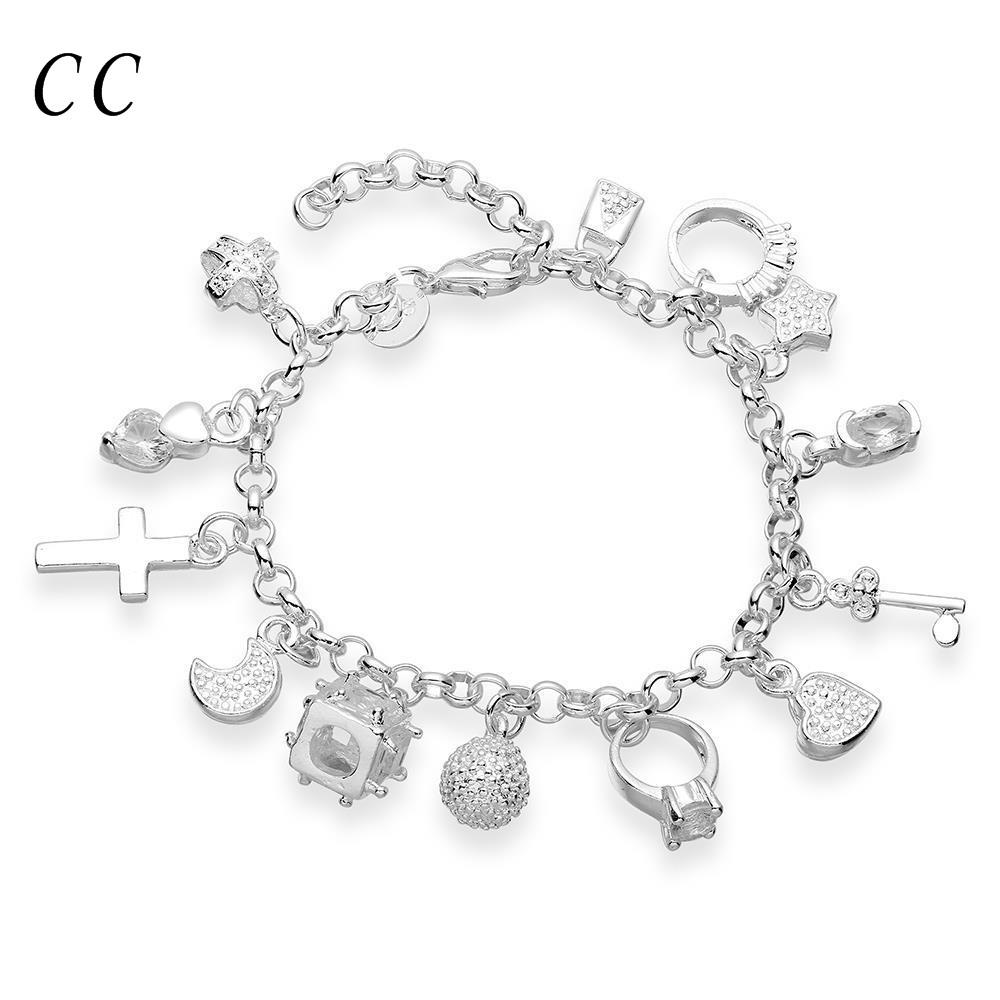 Heart lock key moon star ball 13 pieces hanging decoration silver plated charm bracelets for women CZ diamond jewelry CCNE0661(China (Mainland))