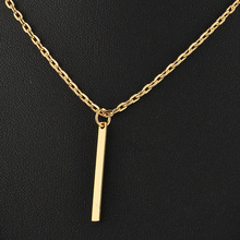 Fashion Simple Metal Gold Layered Tassels Pendant Long Necklace Double Layer Bar Stick Necklace Pendant