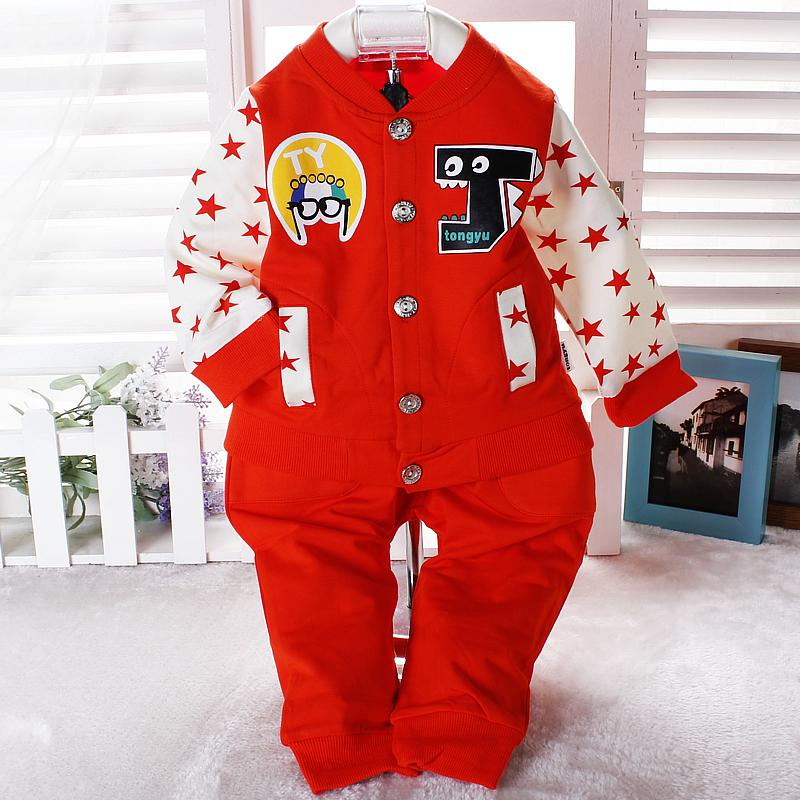 Autumn baby clothes set Single breasted baby clothes 2015 new fashion 2pcs clothing set suit baby shirt+pants sets(China (Mainland))