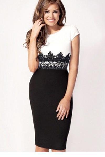 vestidos femininos White Black Lace Bandeau Drop Waist Midi Dress LC6561 new 2014 style vestido de renda curto Luxury - Beauty Place store