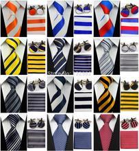 """4""""/10cm Wide Mens Accessories Striped Pattern Business Silk Tie Set Hanky Handkerchief Cufflinks Necktie for Men()"""