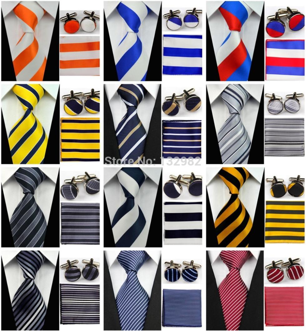 "4""/10cm Wide Mens Accessories Striped Pattern Business Silk Tie Set Hanky Handkerchief Cufflinks Necktie for Men()"