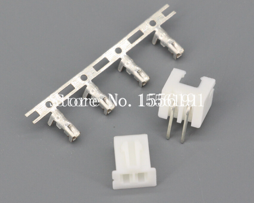 100Sets Kit XH2 54 2P 2Pin Curved needle spacing 2 54mm connectors Male and Female Plug