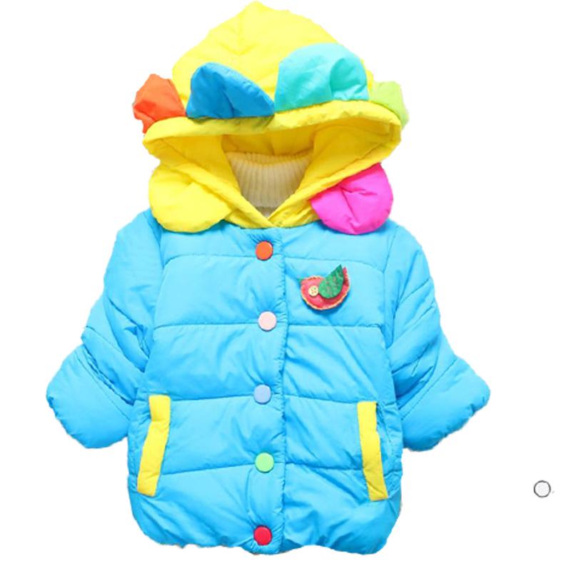 New Thick Velvet Baby Girl Winter Coats Jackets Hooded Cartoon Minne Flower Kids Children Outerwear Toddler Girl Clothing Parkas(China (Mainland))