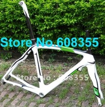 Buy FR-308P Brand New Full Carbon 3K 700C Road Frame 54cm, Fork, Seatpost, Clamp, Alloy headset GREEN WHITE for $439.69 in AliExpress store