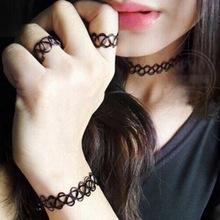 High Quality Black Tattoo Handmade Choker Bracelets/Ring/Necklace Pendant Jewelry Sets Retro Elastic Stretch Gothic(China (Mainland))
