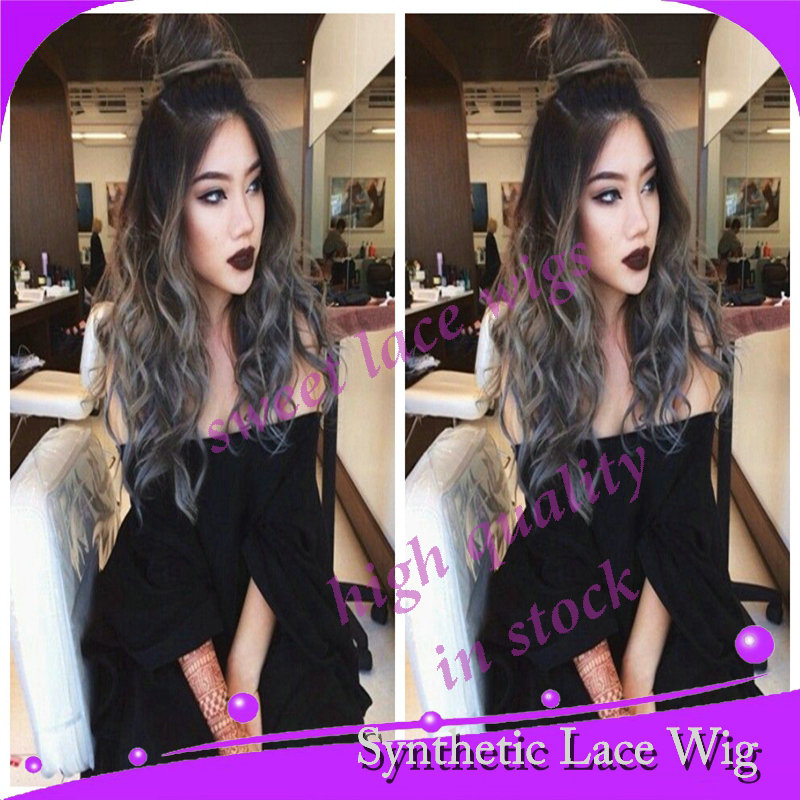 Body Wave Gray Synthetic Lace Front Wig Glueless Ombre Tone Color Black Grey Heat Resistant Hair Wigs/ Hot - Guang Zhou Sweet lace wigs Co.,Ltd store