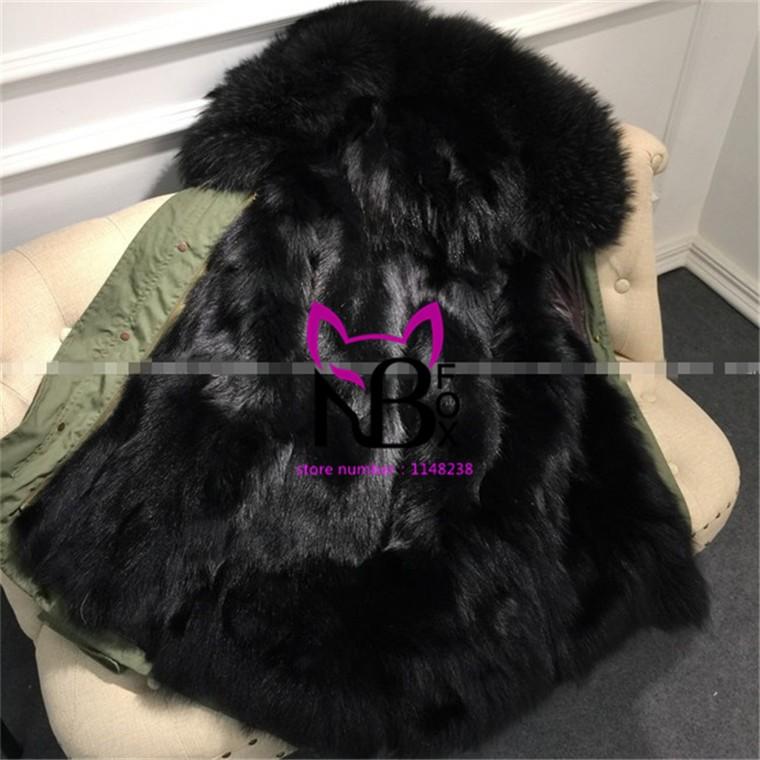Hot sale 16 colors women real fox fur parka coat for ladies large collar genuine fox fur inside green/black parkas plus  NE044