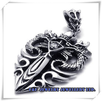 Men's Vintage Silver Dragon Stainless Steel Pendant Necklace  P#50